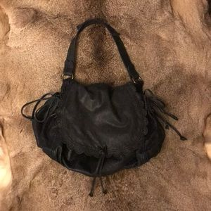 Lucky brand genuine leather black hobo purse